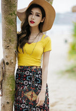 Load image into Gallery viewer, Beautiful Floral-Printed Chiffon Skirt And Solid Color T-Shirt Two-Piece Suits