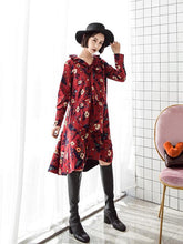 Load image into Gallery viewer, Retro Red Floral-Printed Long Sleeve Fabala Neck Bohemia Dress