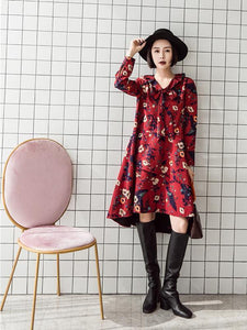 Retro Red Floral-Printed Long Sleeve Fabala Neck Bohemia Dress
