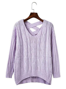Knit Hollow BacklessLong Sleeve V-neck Sweater
