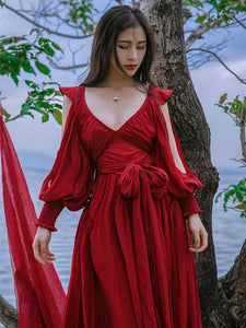 Red Cotton Blends V-neck Maxi Dress