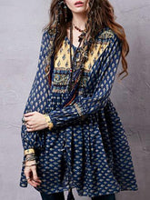 Load image into Gallery viewer, Split-joint Printed Shirt Mini Bohemia Dress