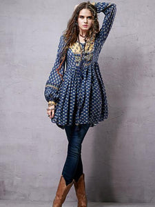 Split-joint Printed Shirt Mini Bohemia Dress