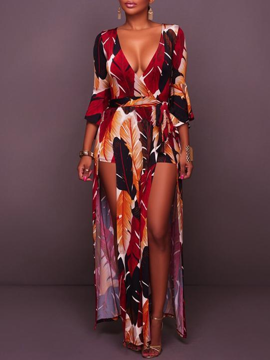 Deep V-neck Split-side Maxi Dress
