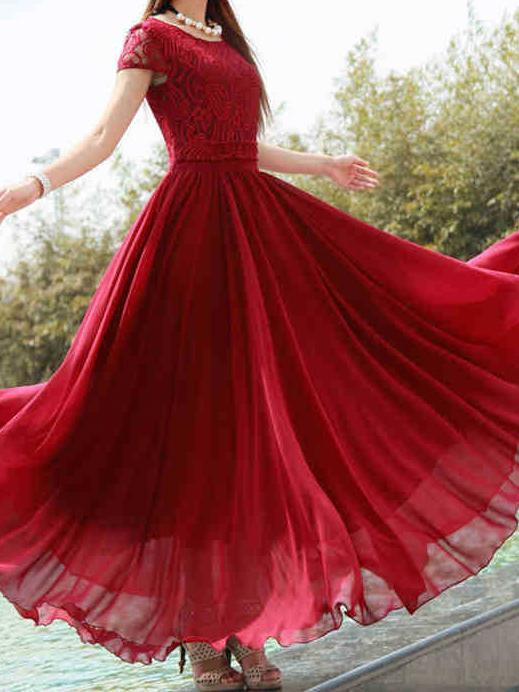 Elegant Solid Color Chiffon Short Sleeve Maxi Dress
