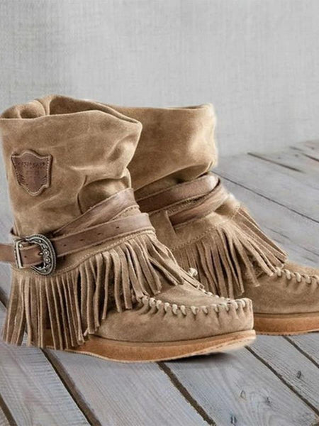 Women Fashion Retro Boots Ladies British Style Frosted Tassel Short Boots Ladies Suede Leather Flat Casual Boots