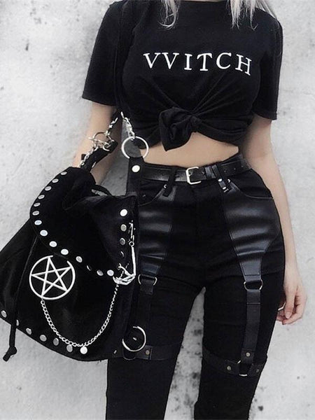 Casual Gothic Pants Women Halloween Sexy Leather Blet Patchwork Mid Cargo Pants Black Full Length Trousers