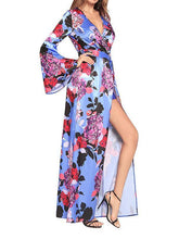 Load image into Gallery viewer, Flower V Neck Long Sleeve Split Maxi Dress