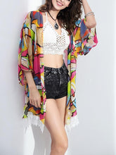 Load image into Gallery viewer, Attractive Colorful Half Sleeve Shawl Cover-up Tops