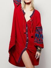 Load image into Gallery viewer, National Style Inwrought Floral-Print Deep V Neck Loose Bohemia Dress
