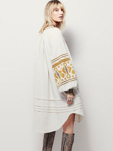 National Style Inwrought Floral-Print Deep V Neck Loose Bohemia Dress