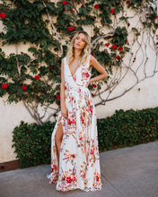 Load image into Gallery viewer, New Print V Neck Sleeveless Split Beach Maxi Long Dress