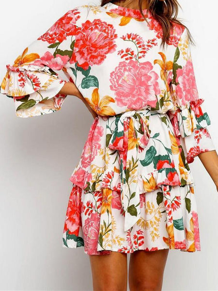 Stylish Print Round-necked Long-sleeved Dress