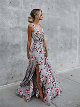 Load image into Gallery viewer, Flower V Neck Sleeveless Belted Bohemia Maxi Long Dress