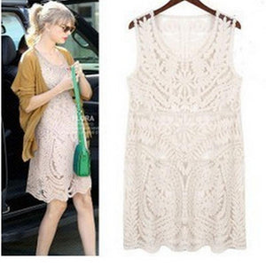 Naked Leisure Hollowed Out Full Lace Sleeveless Vest Dress Loose Sexy Dress