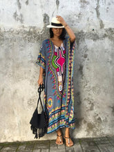 Load image into Gallery viewer, Elegant V-neckline Short Sleeves Maxi Print Bohemia Dress