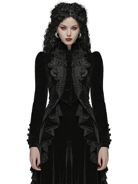 Women Gothic Vintage Overcoat Black Coat Zipper Outwear Plus Sizes Retro Bandage Lace Up Jacket