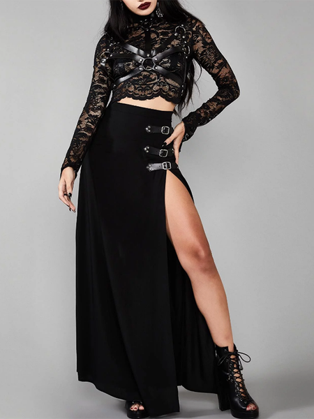 Gothic Long Split  Women Sexy Side Slit High Waist Straight Skirts