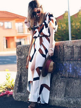 Load image into Gallery viewer, Fashion Printed Short Sleeves Deep V-neck Split-side Maxi Dress