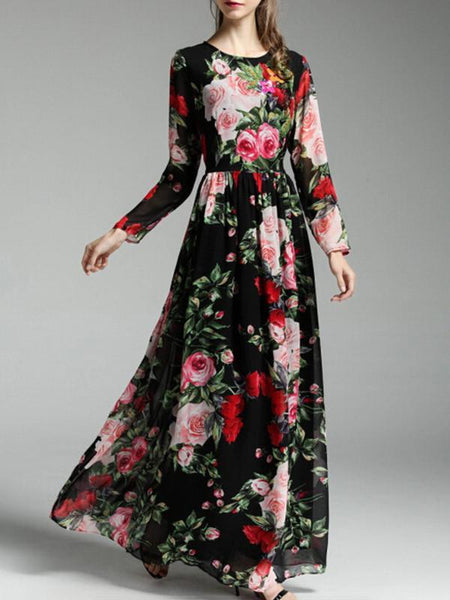 Autumn Rose Floral Long Sleeves Bohemia Maxi Dress With Scarf