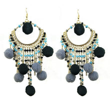 Load image into Gallery viewer, Bohemian statement ball hairpin exaggerated earrings pendant earrings