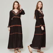 Load image into Gallery viewer, Elegant V Neck Long Sleeve Embroidered Bohemia Maxi Long Dress
