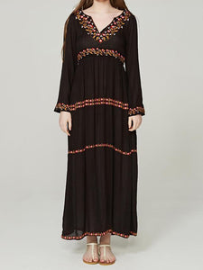 Elegant V Neck Long Sleeve Embroidered Bohemia Maxi Long Dress