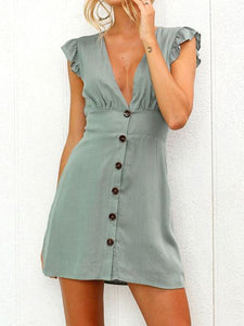 2018 New Deep V Neck Button Casual Mini Dress
