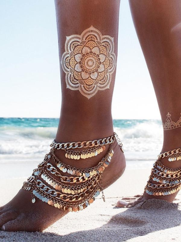 Exaggerated Bohemia Paillette Tassels Punk Beach Footchain Accessories Anklet