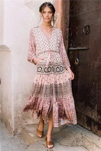 Pink Printed Wavy Ribbon Hollow Big Skirt Holiday Dress