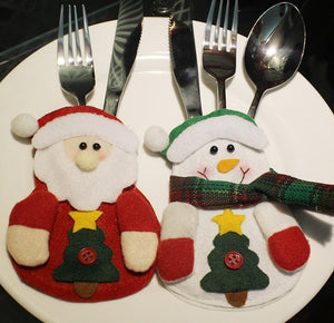 Santa Claus Snowman Knifes Forks Bag Christmas Party Decoration