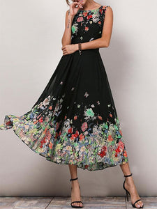 Casual Floral Print Sleeveless A-line Midi Dress