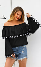 Load image into Gallery viewer, Off Shoulder Long Sleeve Tassel Tops T Shirt