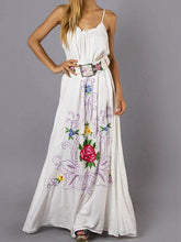 Load image into Gallery viewer, Bohemian Holiday Wind Color Flower Embroidery Strap Sexy Dress