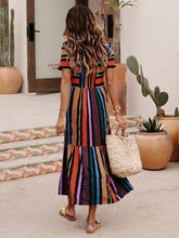 Load image into Gallery viewer, Colorful Round Neck Short Sleeves Striped Maxi Dress