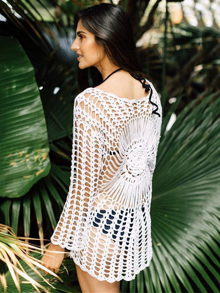 Sexy Hollow Crochet Beach Swimwear Cover-ups