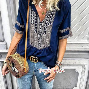 Ethnic Style Striped V-neck Women Casual Large size T-shirt