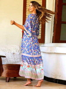 Bohemian Beach Holiday Style Pleated Print Dress