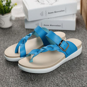 Leather Knitting Weave Buckle Clip Toe Flat Open Heel Flip Flops Sandals