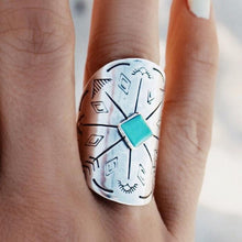 Load image into Gallery viewer, Gypsy Bohemian Wide Edition Retro Carved Truffle Cactus Sun Moon Geometry Ring