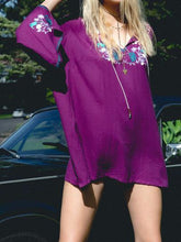 Load image into Gallery viewer, Embroidered Long Sleeve Bohemia Beach Mini Dress