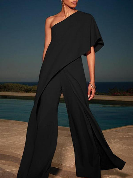 Solid Color One Shoulder Wide Leg Pants Jumpsuit