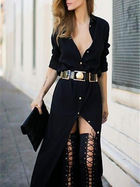 Sexy Long-Sleeved Black Maxi Dress
