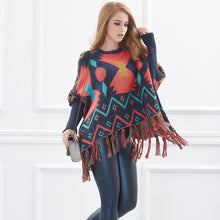 Load image into Gallery viewer, Loose Batwing Long Sleeve Tassels Geometric Knitted Poncho Sweaters