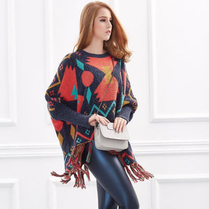 Loose Batwing Long Sleeve Tassels Geometric Knitted Poncho Sweaters