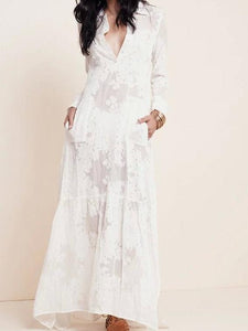 Embroidered White Long Sleeve Boho Dress