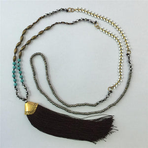 Ethnic Long Necklace Bohemian Fringed Sweater Chain Handmade Beads