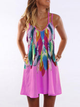 Load image into Gallery viewer, A-line Spaghetti-neck Floral Feather Mini Dress