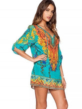 Load image into Gallery viewer, Bohemia 3/4 Sleeve Deep V Neck Mini Dress