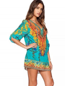Bohemia 3/4 Sleeve Deep V Neck Mini Dress